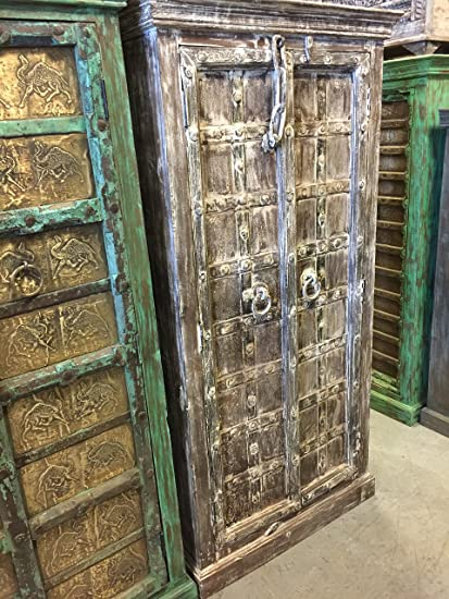 Beautiful Mogul Interior Rustic Furniture Antique Cabinet Teak Doors Whitewashed  Rustic Armoire Southwestern Iron Nailed Spanish Old