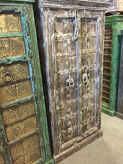 Mogul Interior Rustic Furniture Antique Cabinet Teak Doors Whitewashed  Rustic Armoire Southwestern Iron Nailed Spanish Old - Amazon.com: Mogul Interior Rustic Furniture Antique Cabinet Teak