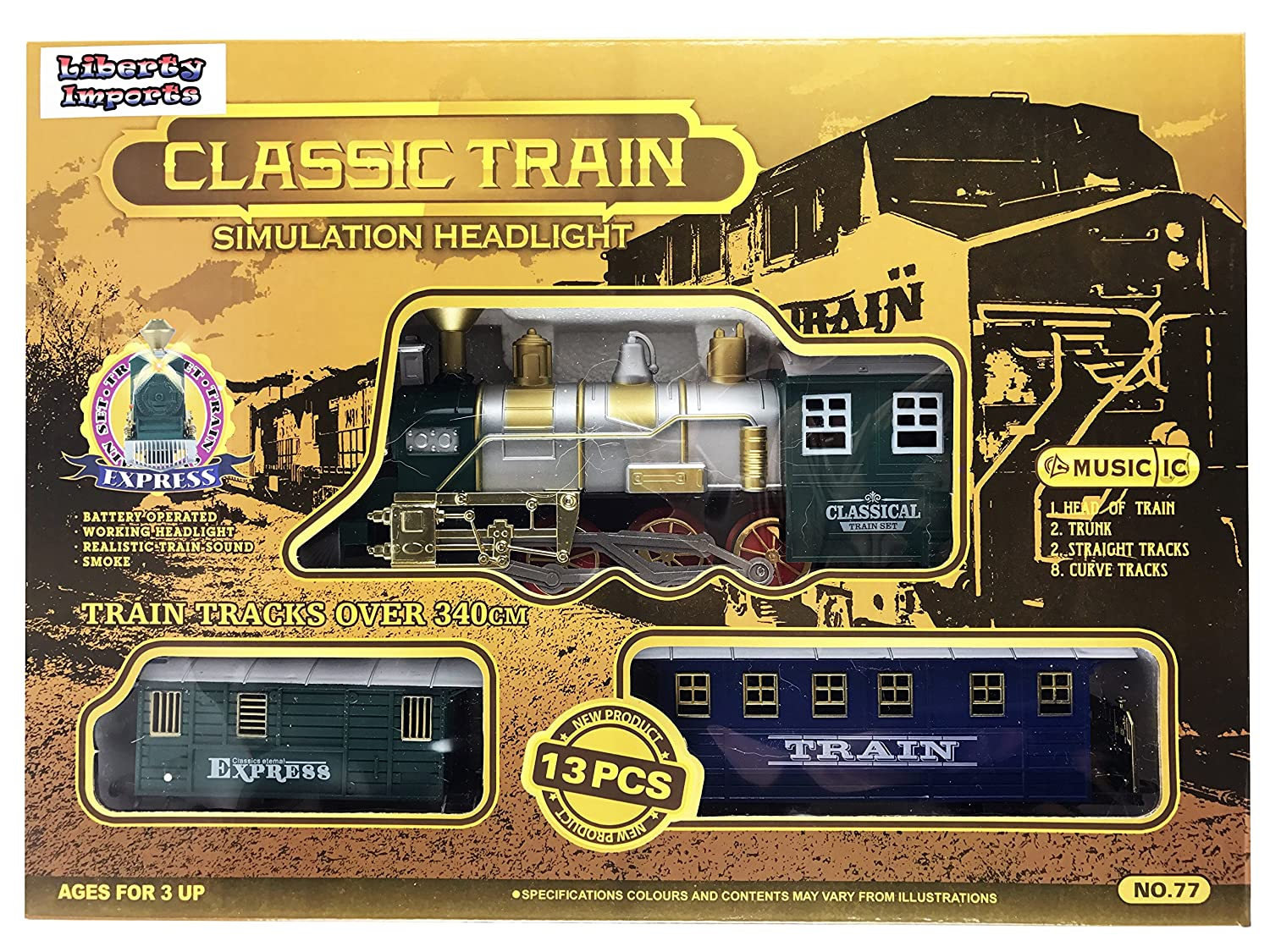 Classic Train Set For Kids With Smoke Realistic Sounds Head Lights Model Trains 3 Cars And 11 Feet Of Tracks 13 Pcs Colors May Vary Toys Games