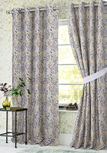 Tribeca Living Fiji Lined Cotton Grommet Top Curtain Panel Pair