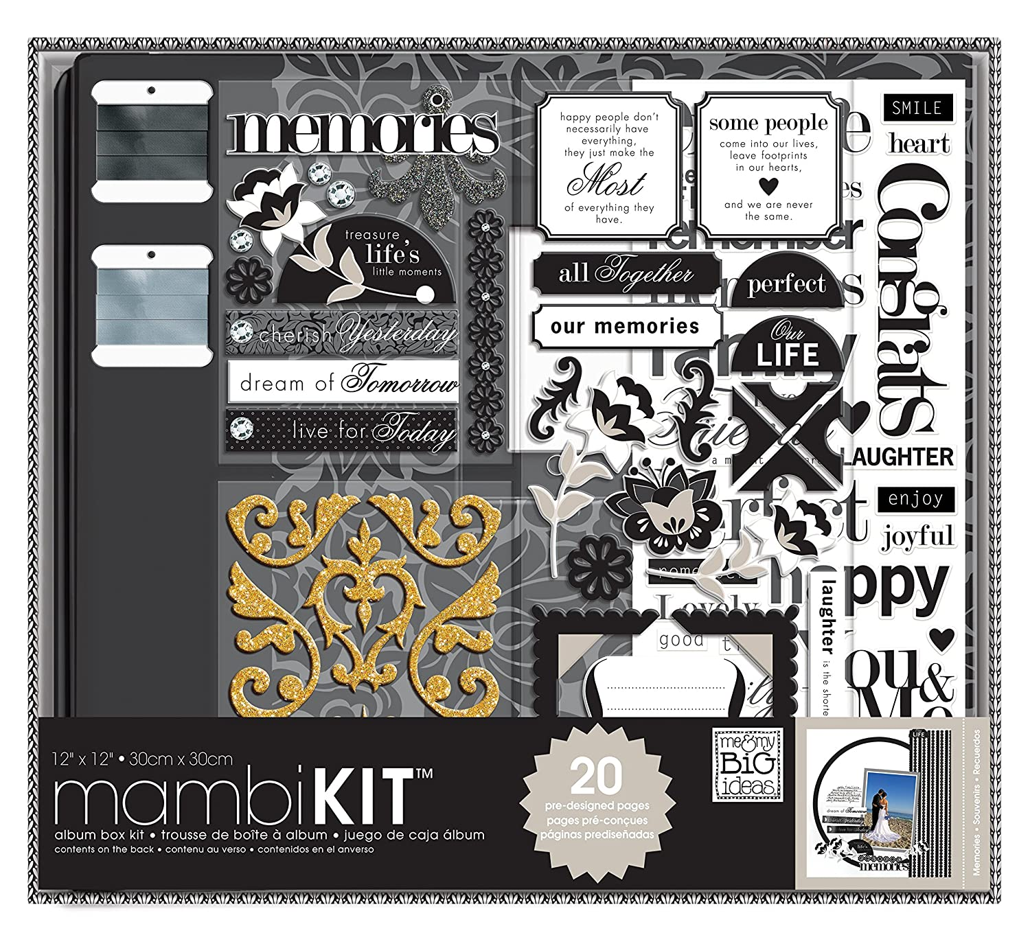 Amazon Me My BIG Ideas Scrapbooking Box Kit Black And White Neutral Memories 12 Inch By