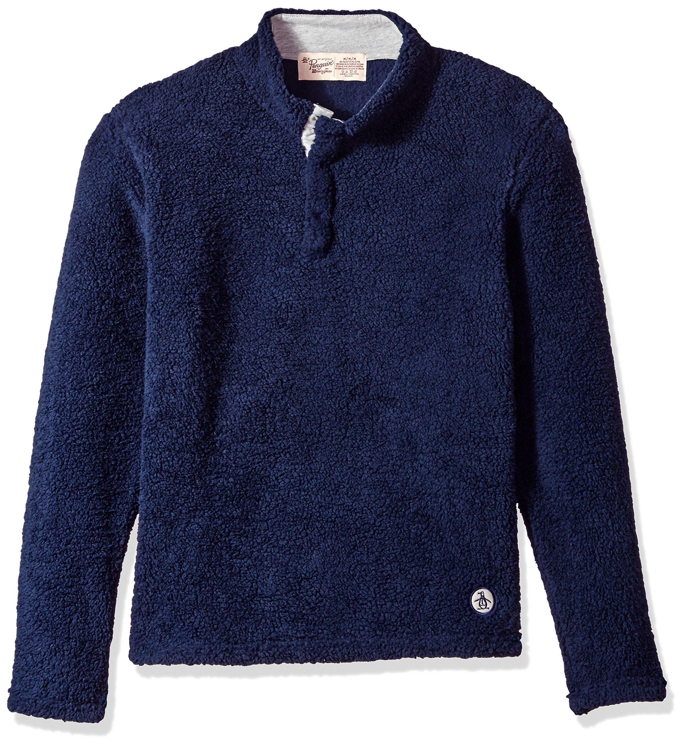 Original Penguin Men's Fleece Mock Neck Top, Medieval Blue, M