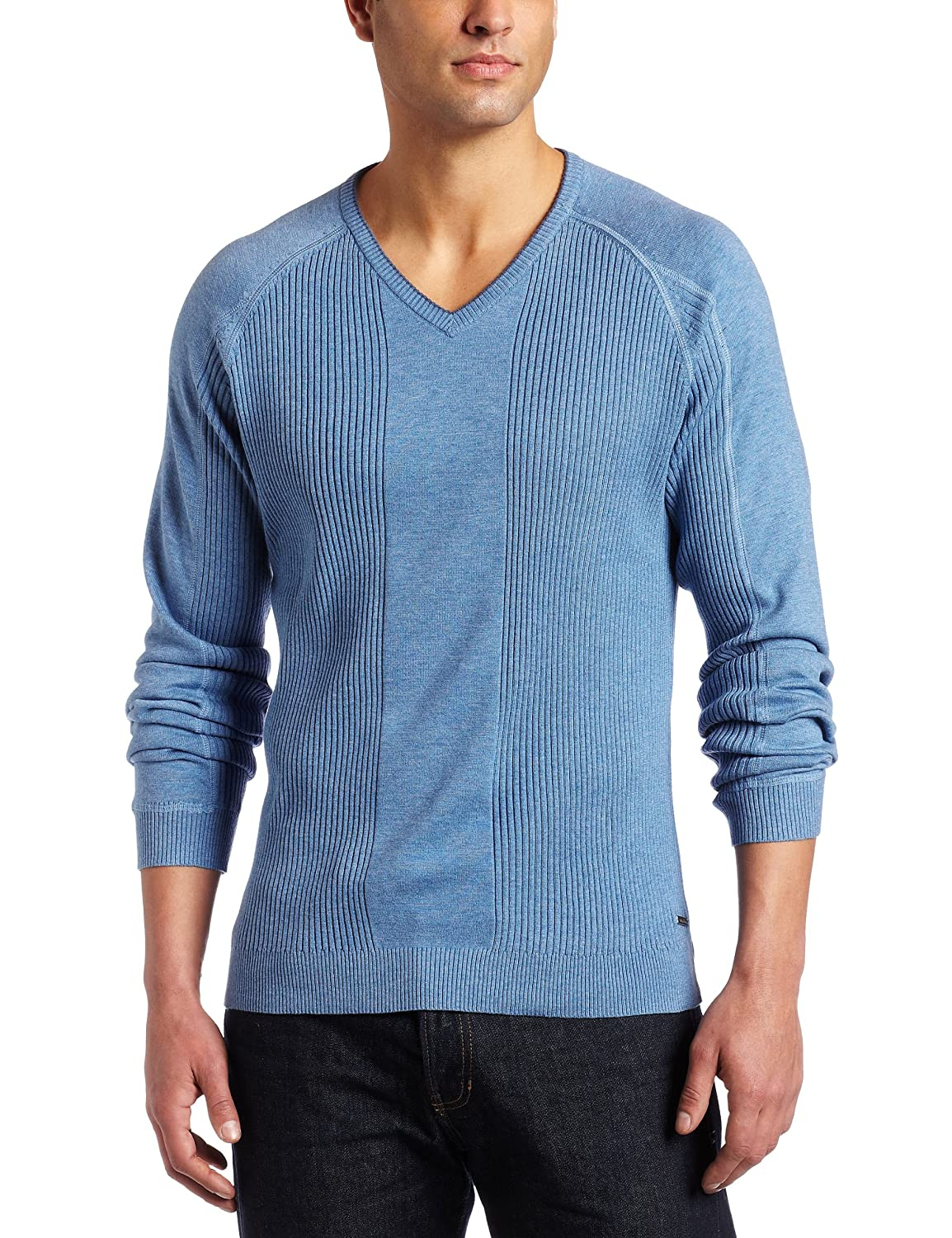 002913a2f47 Calvin Klein Men s Long Sleeve Ribbed V-Neck Sweater