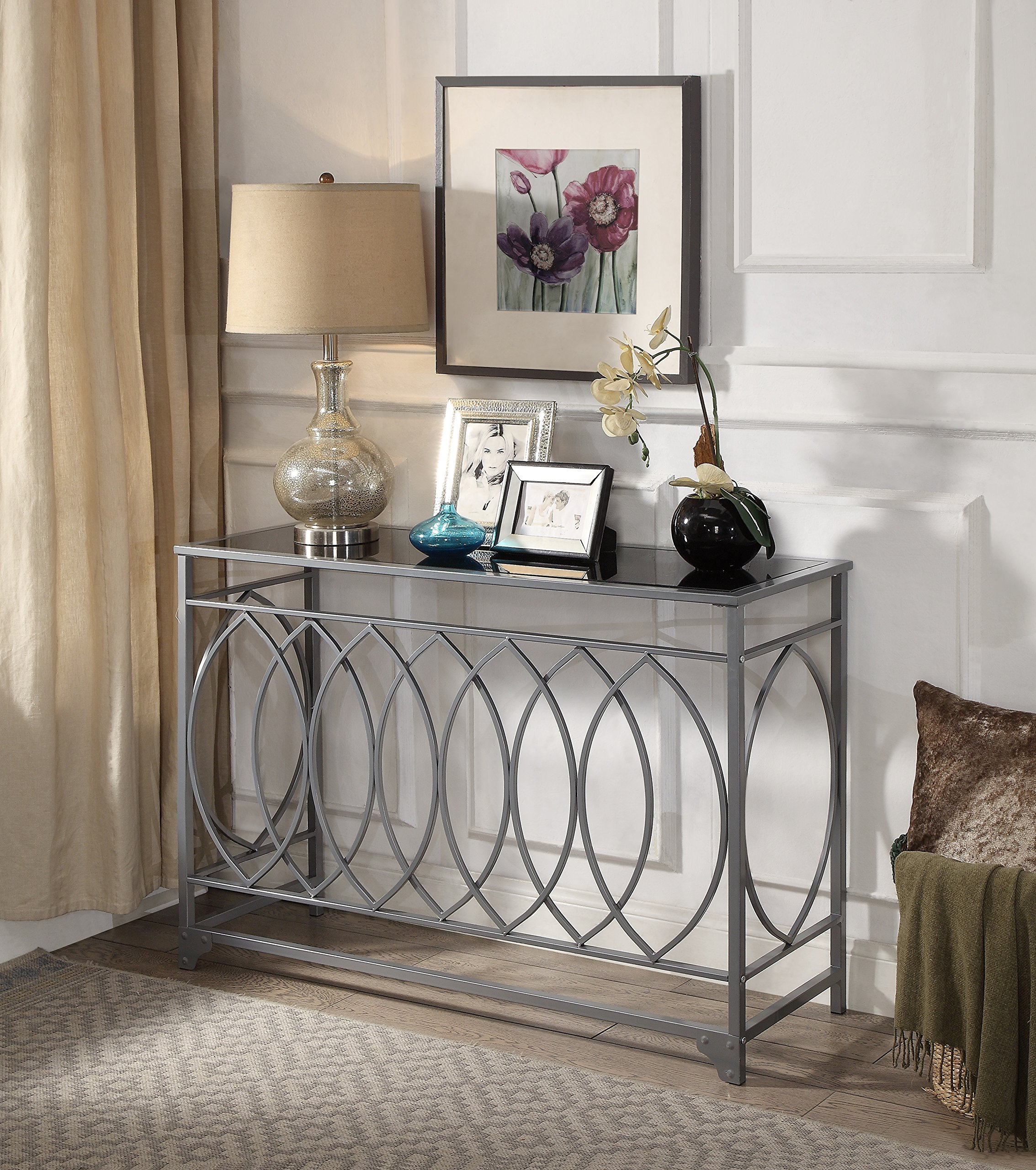 entryway console table. Living Room Entryway Console Table Black Silver Tempered Glass Modern Home Decor