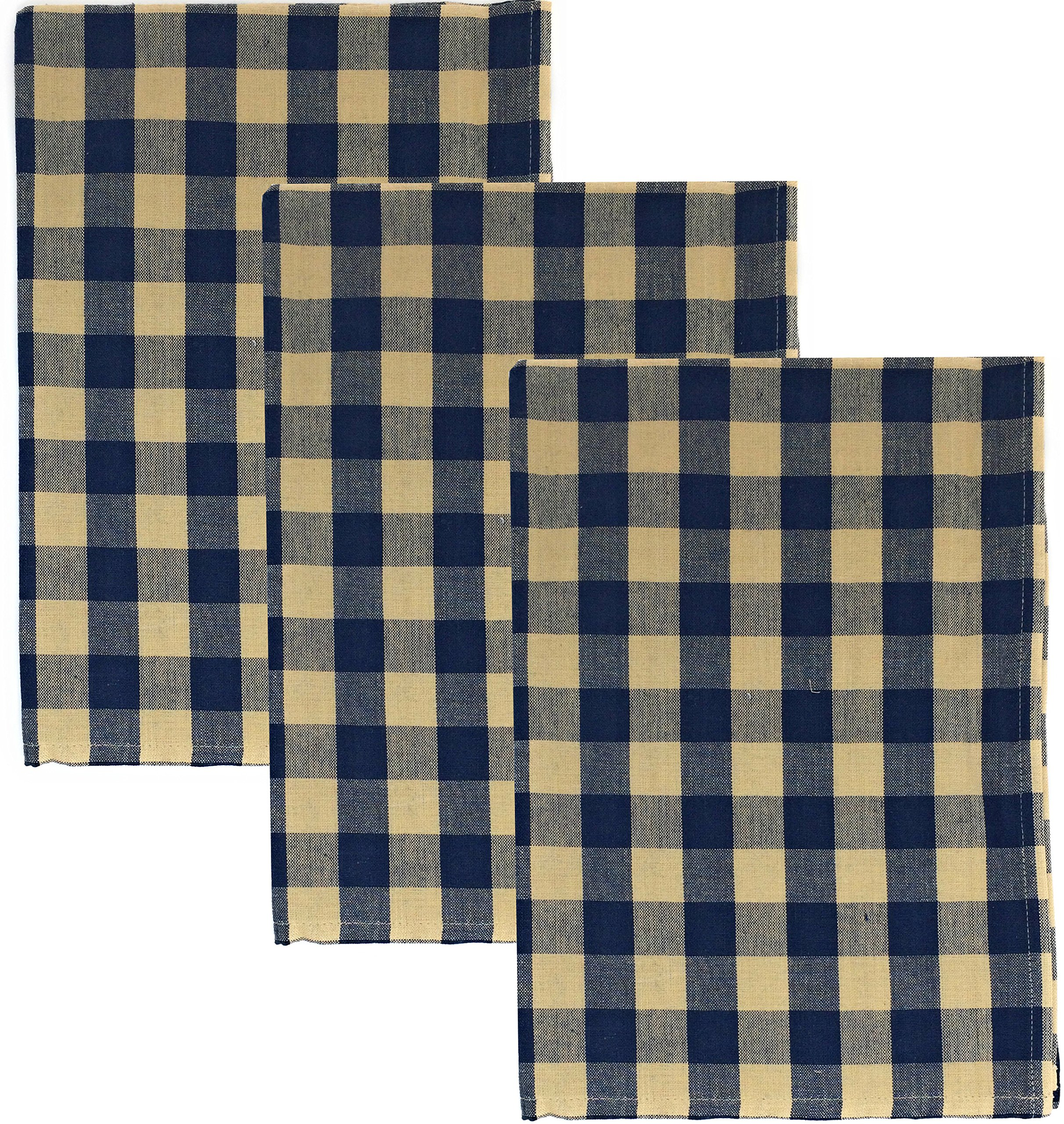 Dunroven House Buffalo Check 100% Cotton Kitchen Towels, Set of 3 (Navy Blue)