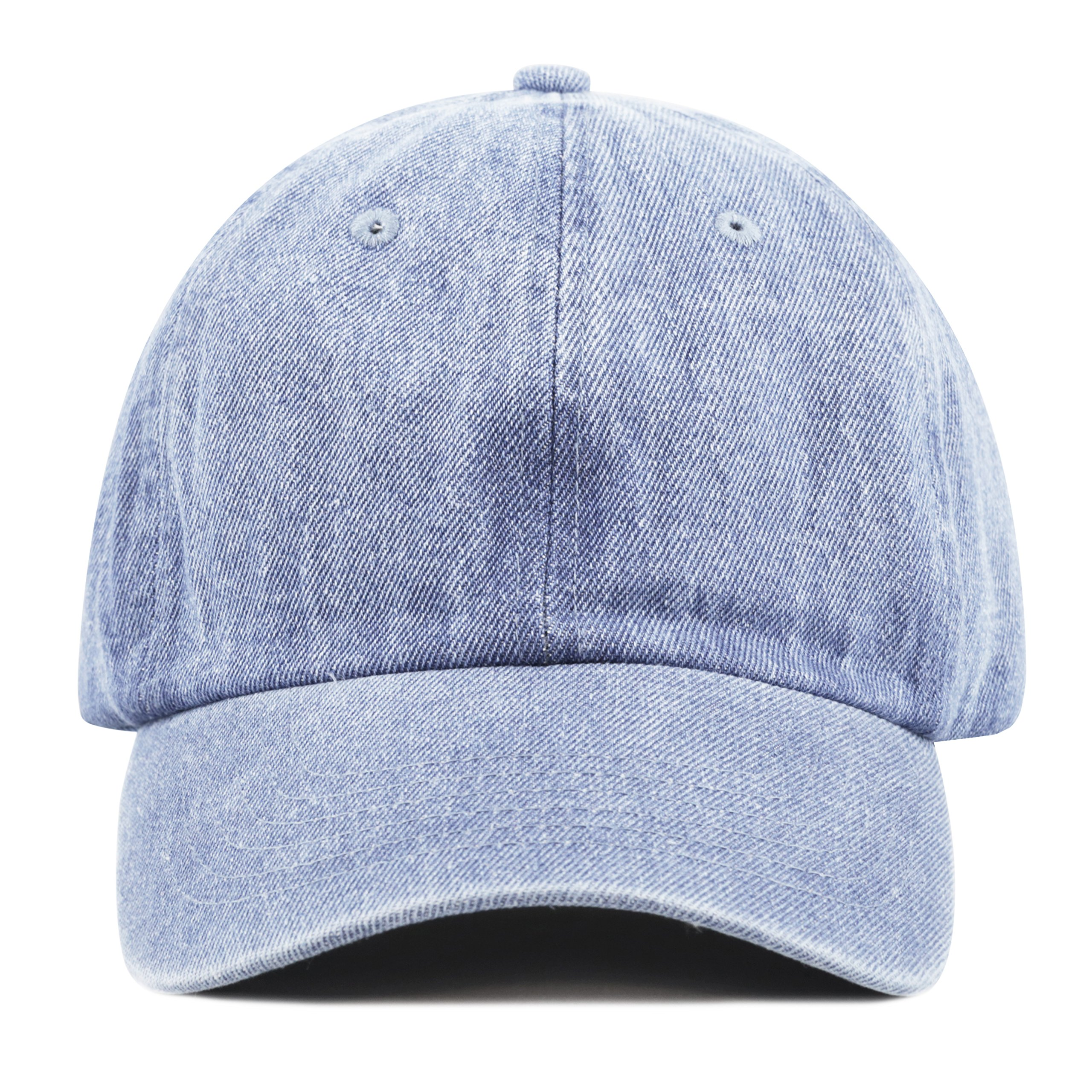 THE HAT DEPOT Kids Washed Low Profile Cotton and Denim Baseball Cap (Light Denim) by THE HAT DEPOT (Image #2)
