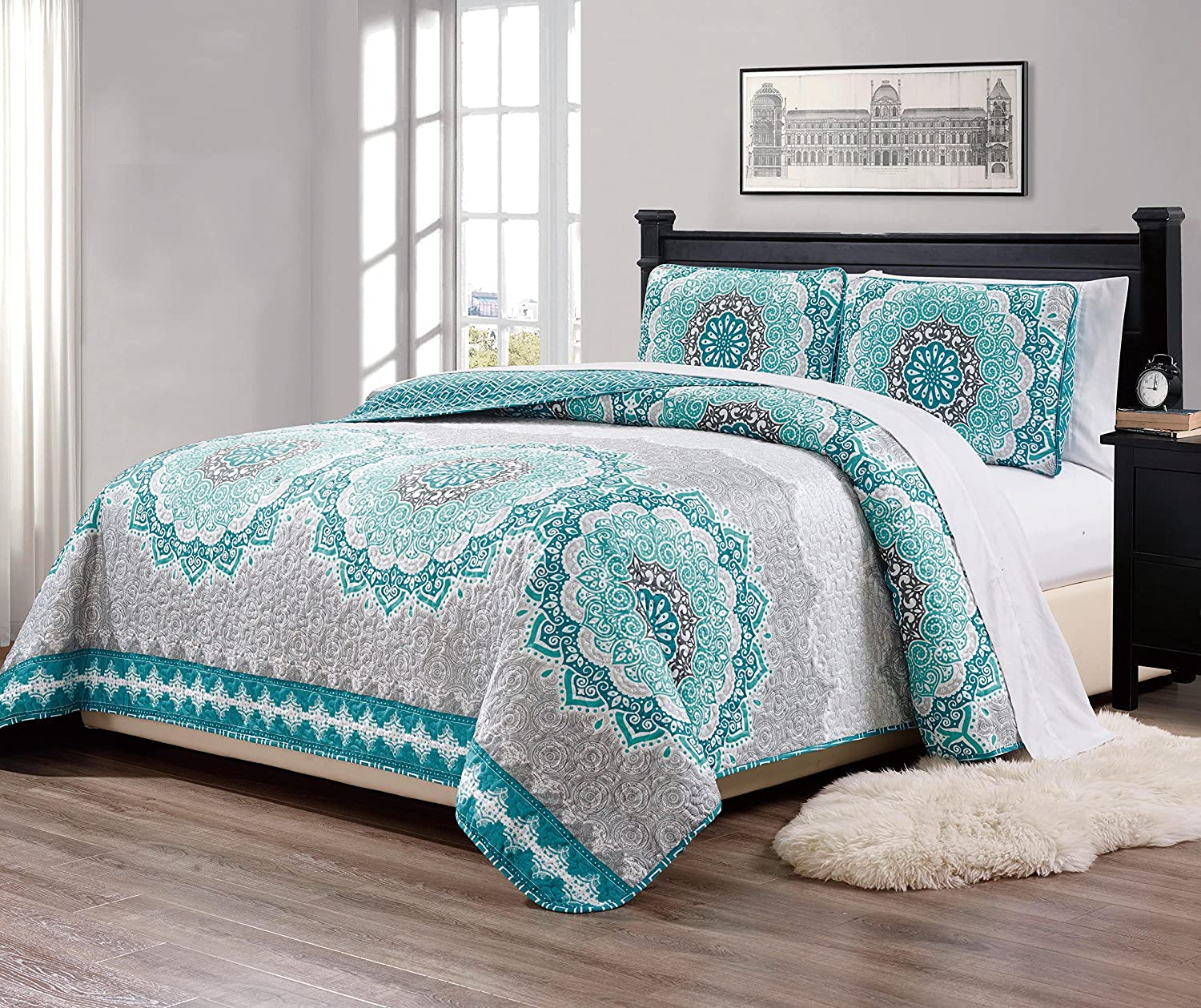 Linen Plus Full/Queen 3pc Over Size Quilted Bedspread Floral Turquoise Teal Aqua Coastal Plain/Gray Green New