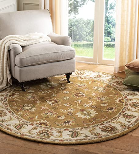 Safavieh Heritage Collection HG816A Handcrafted Traditional Oriental Mocha and Ivory Wool Round Area Rug 8 Diameter