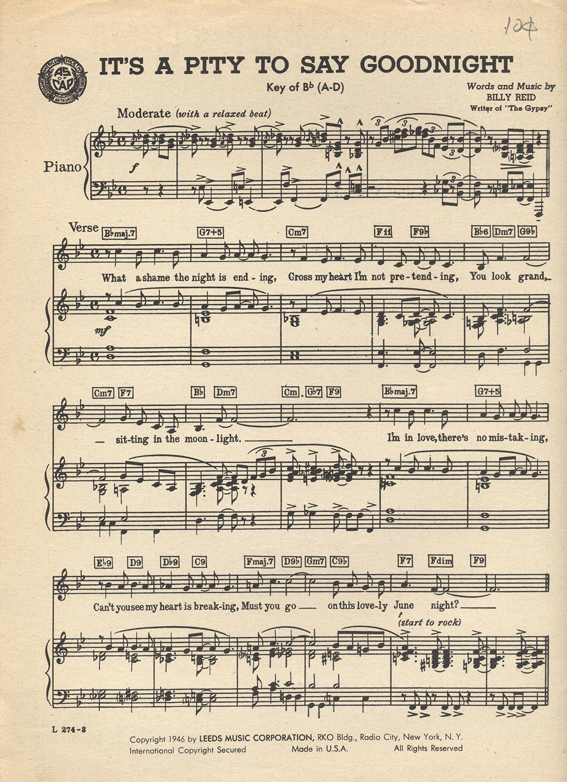 Its A Pity To Say Goodnight Sheet Music For Hammond Chord Organ