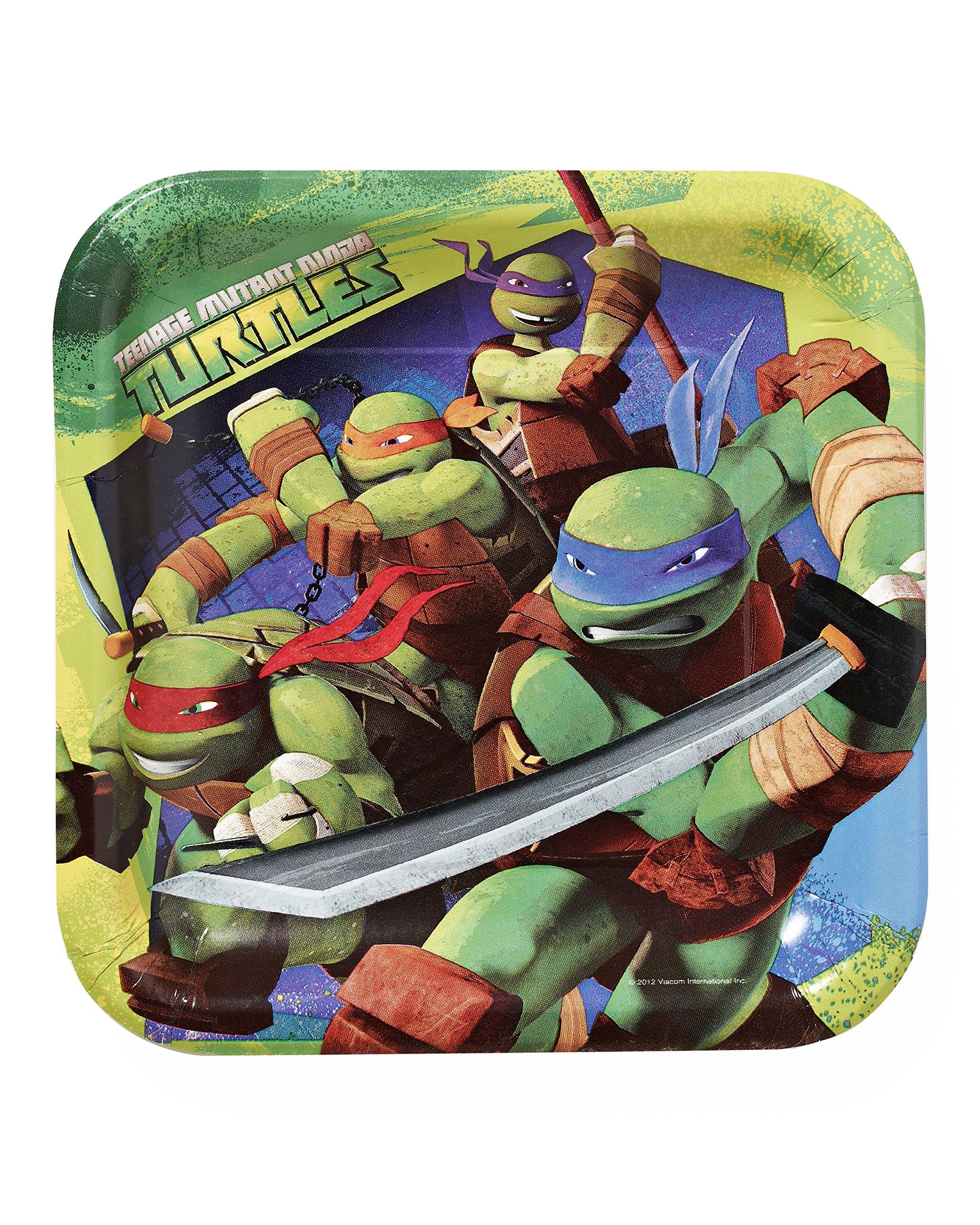 American Greetings Teenage Mutant Ninja Turtles 9 in Square Plate, Pack of 8, Party Supplies