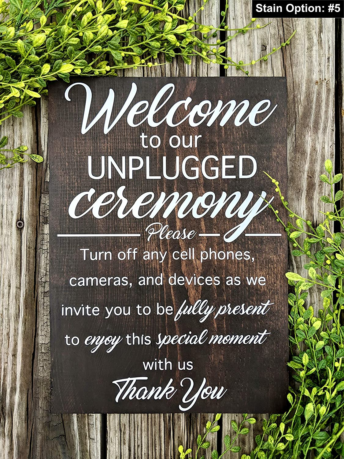 Rustic Wedding Signs.Amazon Com Unplugged Wedding Ceremony Sign No Cell Phone Sign No