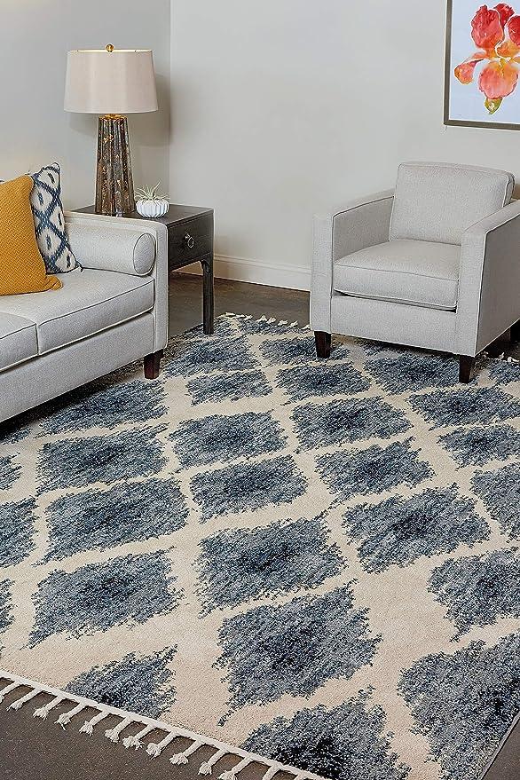 Amazon Com Park View By Bassett Iris Rug 5 3 X 7 6 Blue Furniture Decor