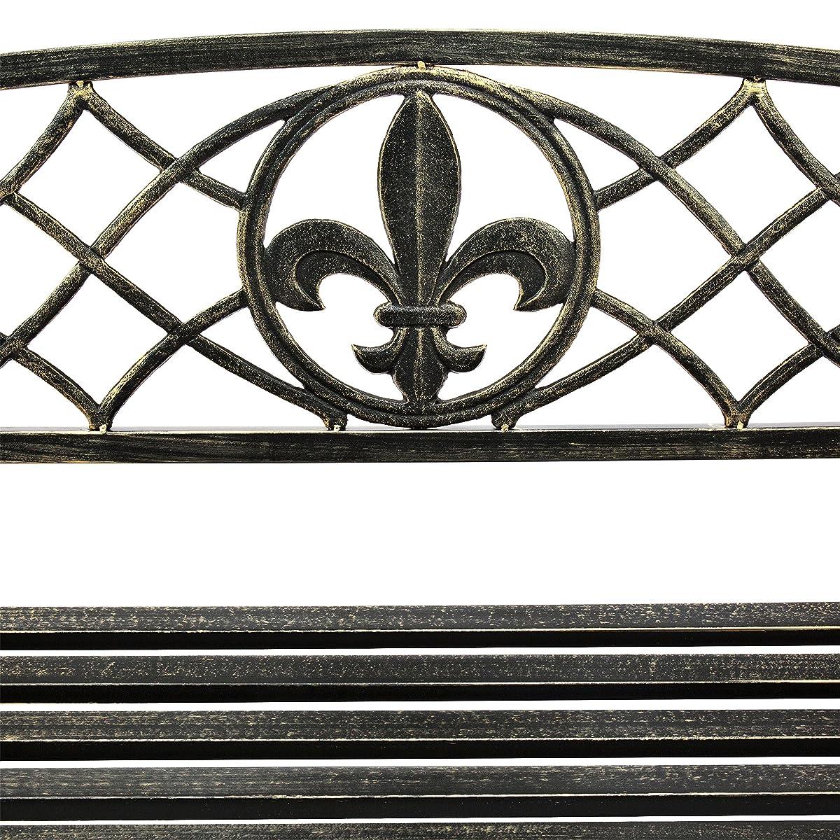 Best Choice Products Outdoor Furniture Metal Fleur-De-Lis Hanging Patio Porch Swing - Bronze