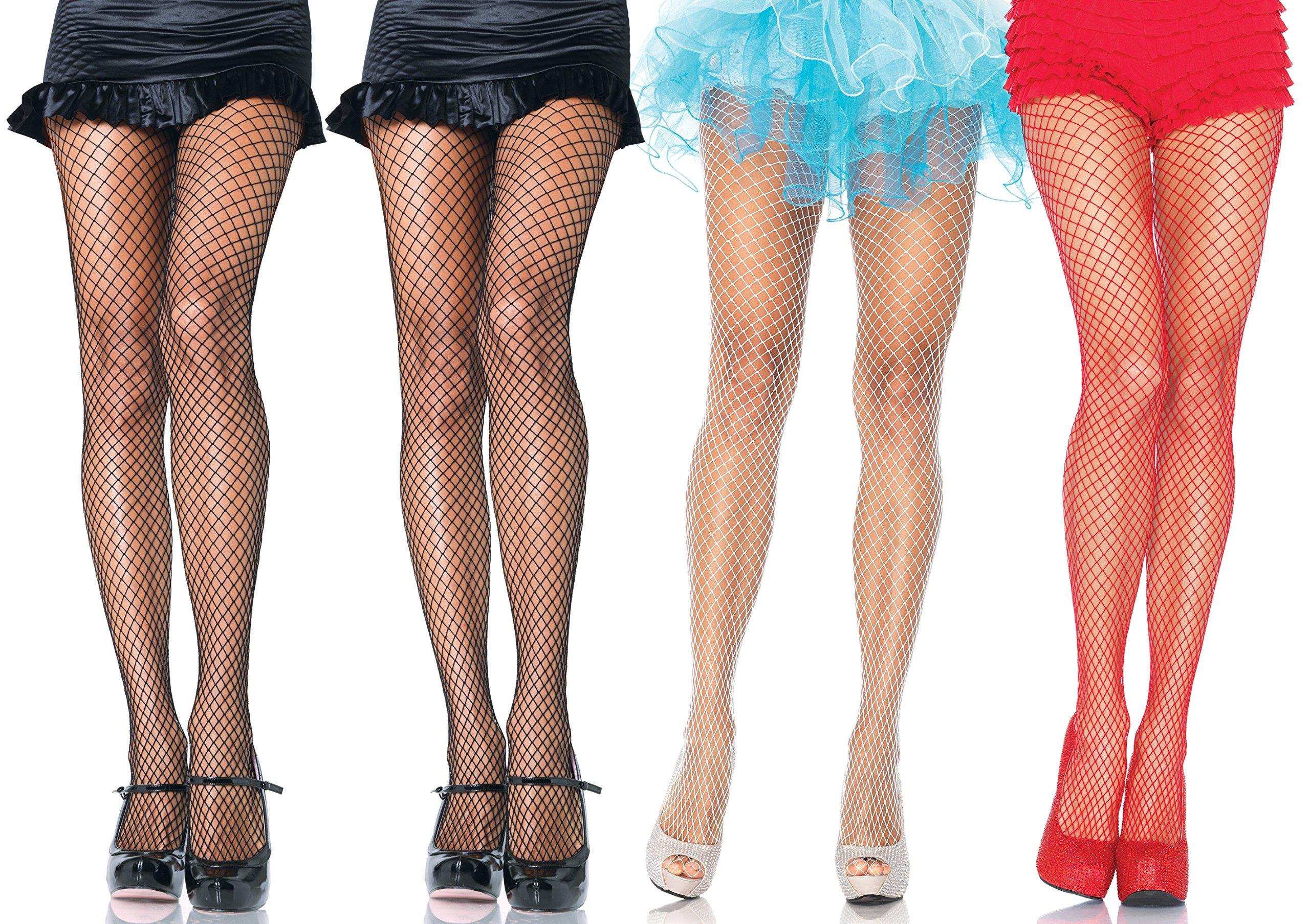 Leg Avenue Women's Industrial Net Pantyhose, Assorted, Plus-size, 4-Pair