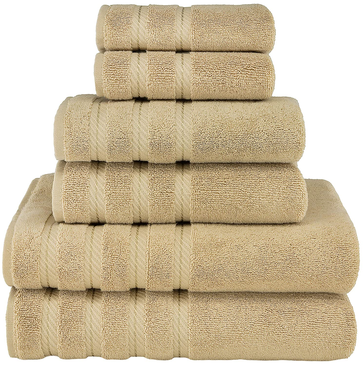 6 Piece Bathroom Turkish Towel Set, Cotton for Maximum Softness