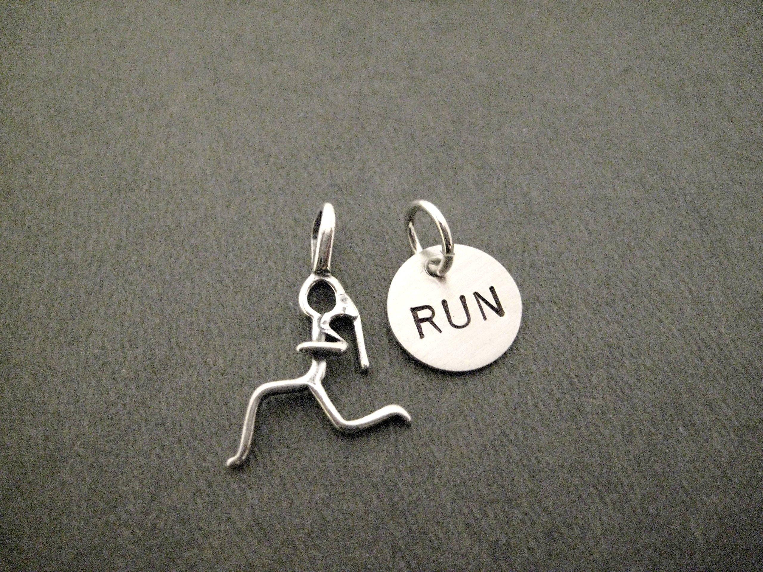 RUNNING Girl RUN Charm Set - Sterling Silver Runner Girl Charm Plus Hand Stamped Sterling Silver RUN Charm in Organza Bag