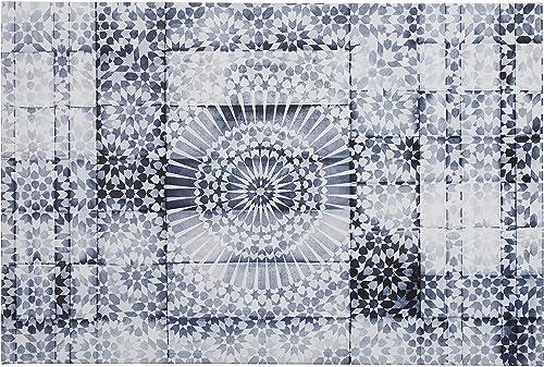 Amazon Brand Stone Beam Contemporary Blue and White Mandala Print Wall Art on Canva