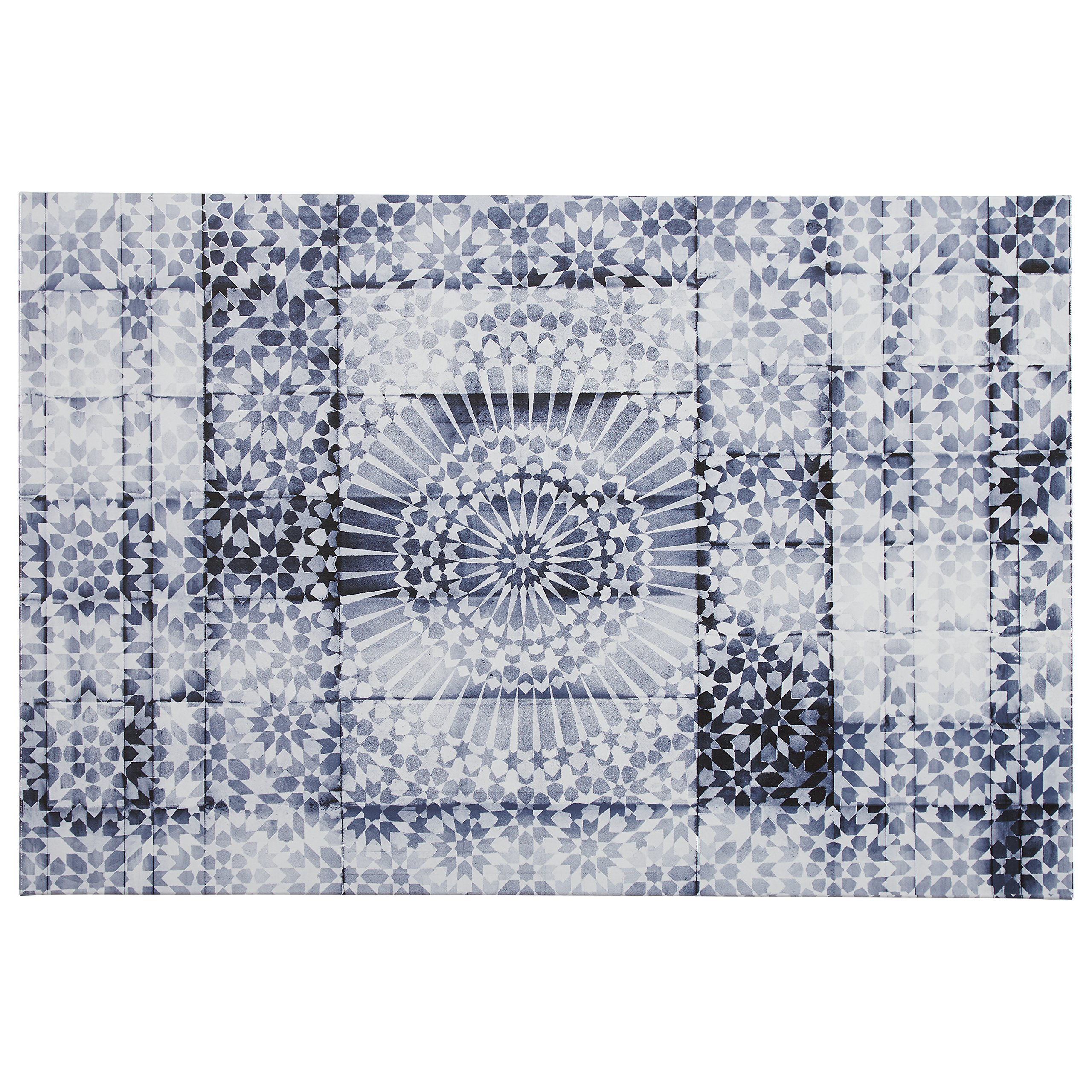 Contemporary Blue and White Mandala Print on Canvas, 36'' x 24''
