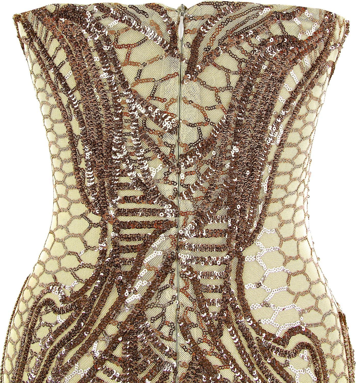 Angel-fashions Dentellato Senza Spalline Paillette Colonna Lunghezza del Vestito del Pavimento del Fodero delle Donne Oro