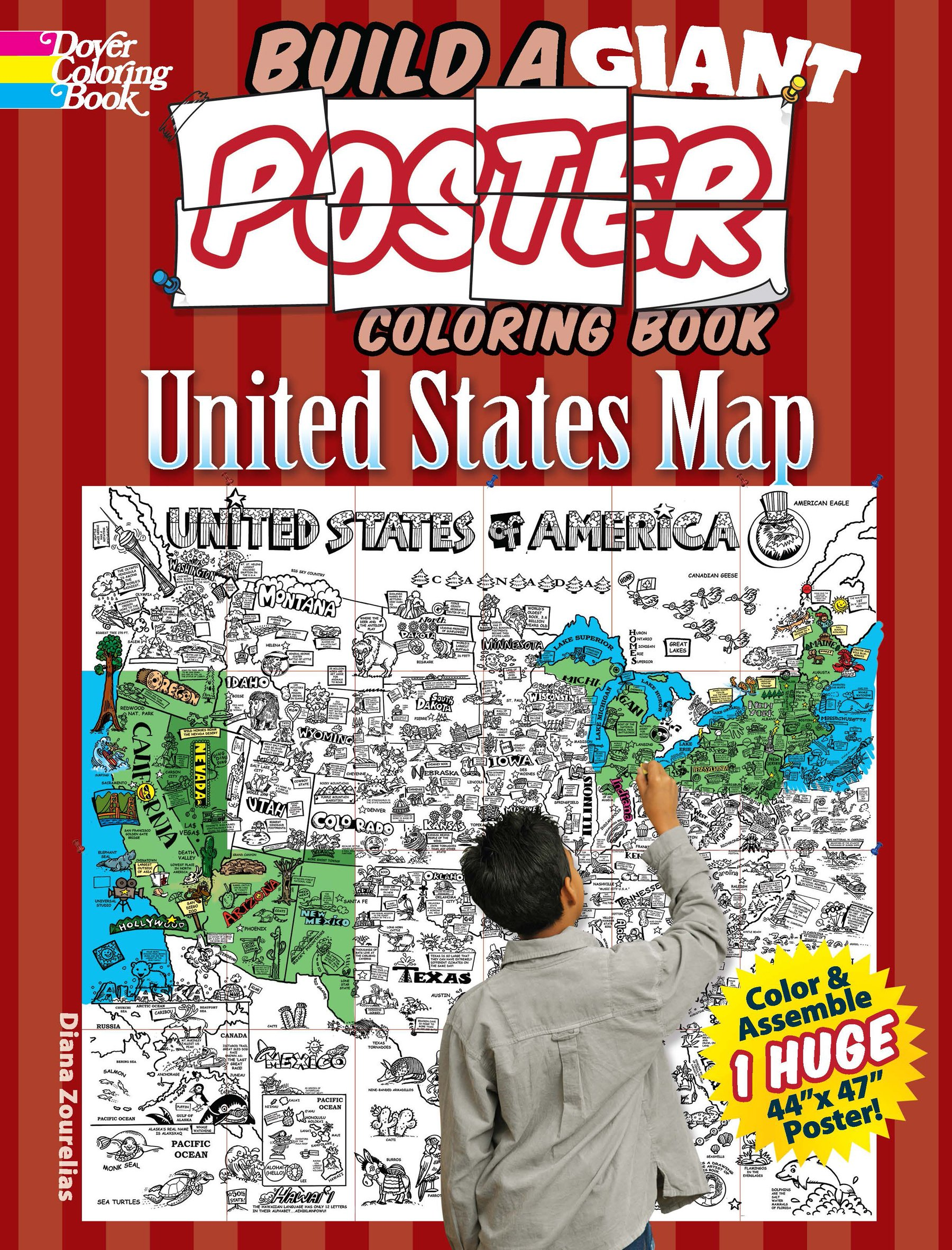 united states map coloring book Build a Giant Poster Coloring Book    United States Map (Dover