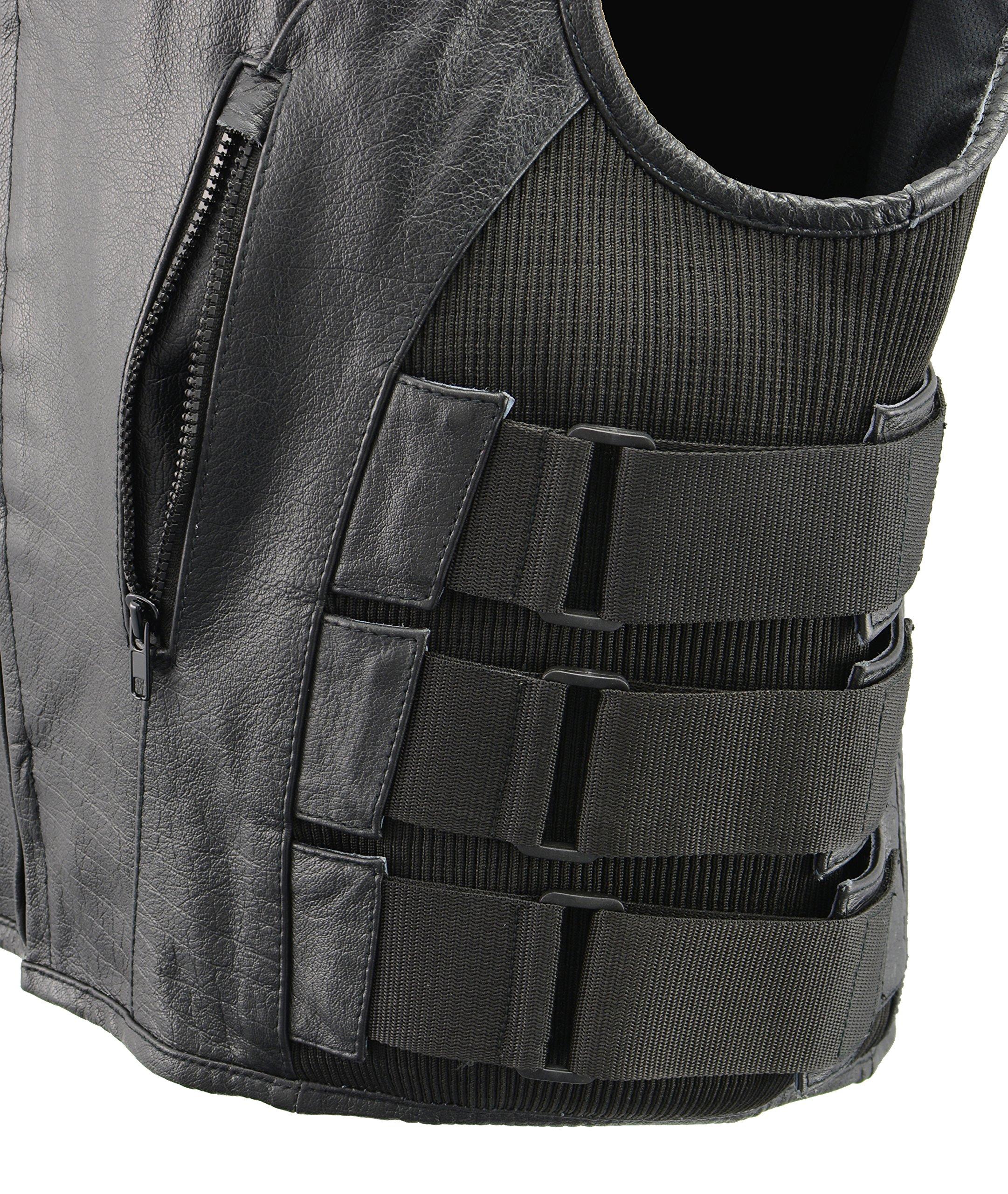 Men's Leather SWAT Style Vest | Premium Natural Buffalo Leather | Patch Access Lining, New Outseam Gun Pocket, Adjustable Side Straps, Zipper Front Closure | Black Biker Vest (Black, 3X-Large) by The Bikers Zone (Image #5)