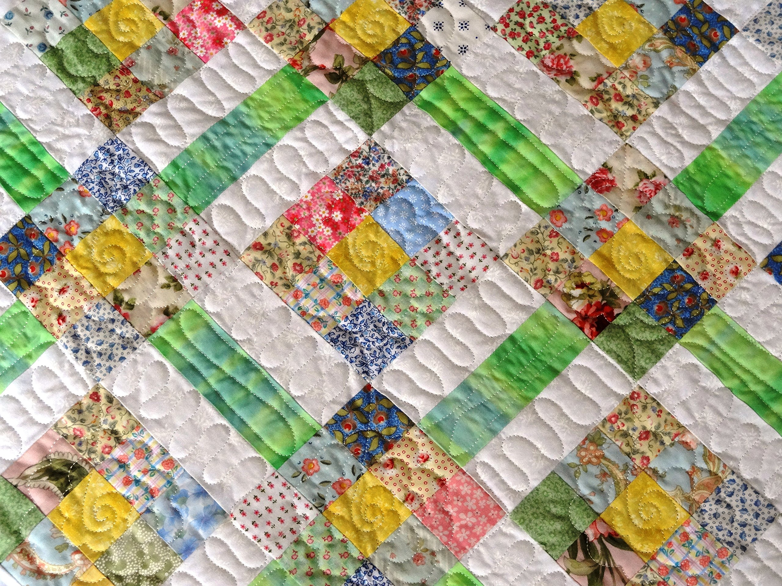 Soft Pastel Baby Quilt with Blue Border 40 x 46