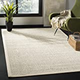 Safavieh NF150B-8 Natural Fiber Collection Abstract Area Rug, 8' x 10', Black/Ivory Sisal