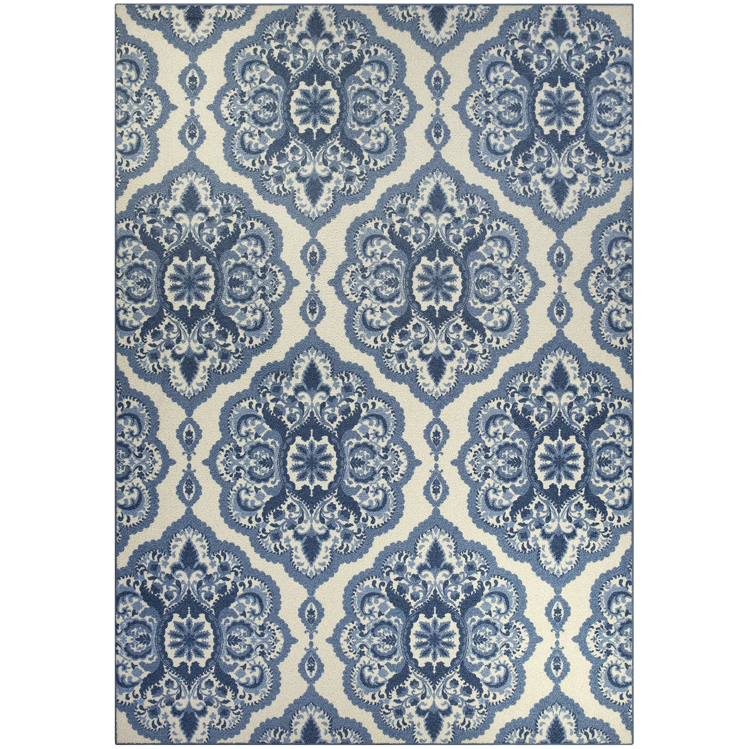 Area Rugs, Maples Rugs [Made in USA][Vivian] 7' x 10' Non Slip Padded Large Rug for Living Room, Bedroom, and Dining Room - Blue
