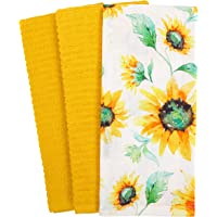 KAF Home Mixed Flat and Terry Printed Dish Towel Set of 3, 100-Percent Cotton, 18 x 28-inch (All Over Sunflower)
