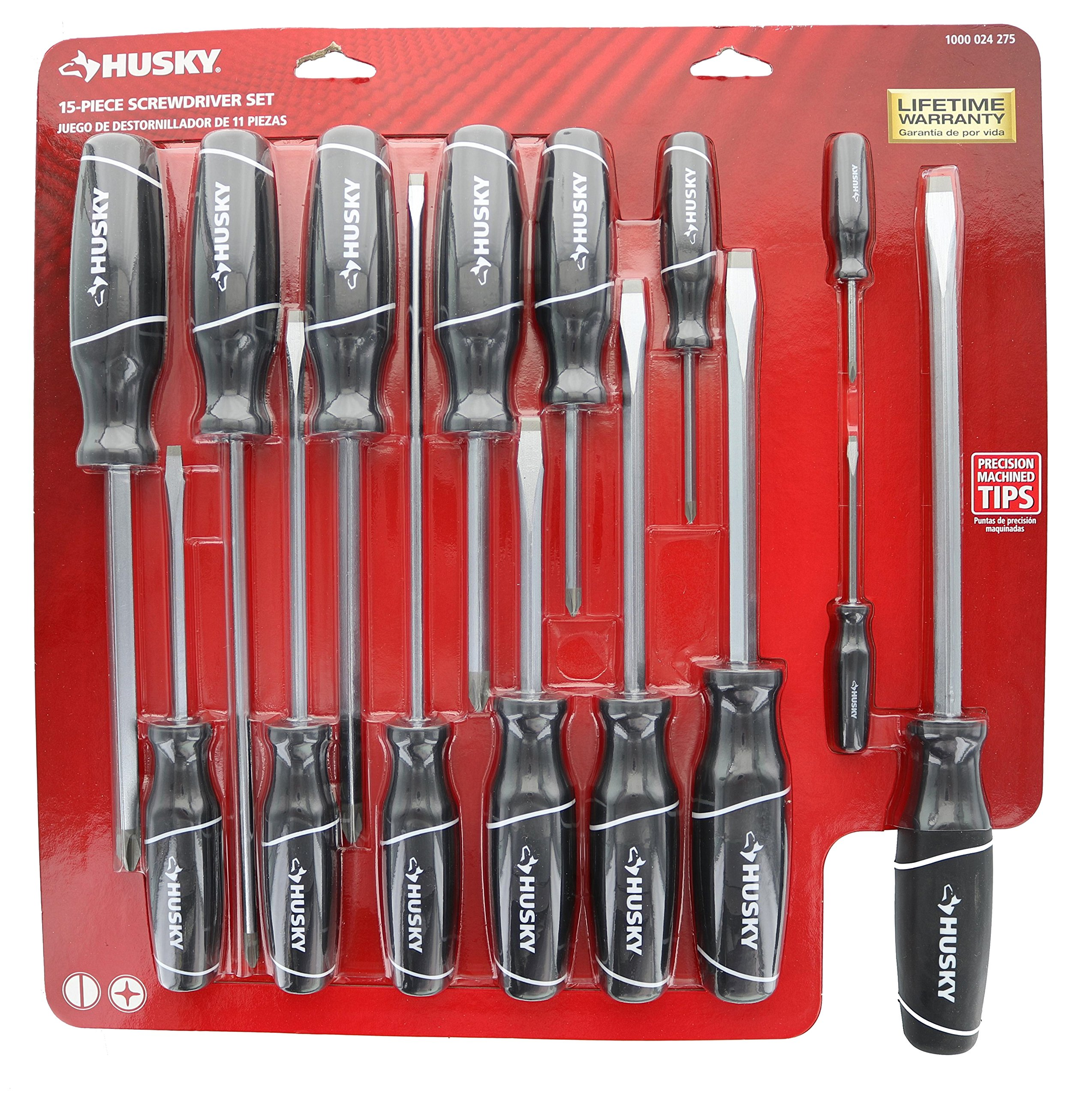 Husky 246340150 15 Piece Phillips and Slotted Head Screwdriver Set by Husky