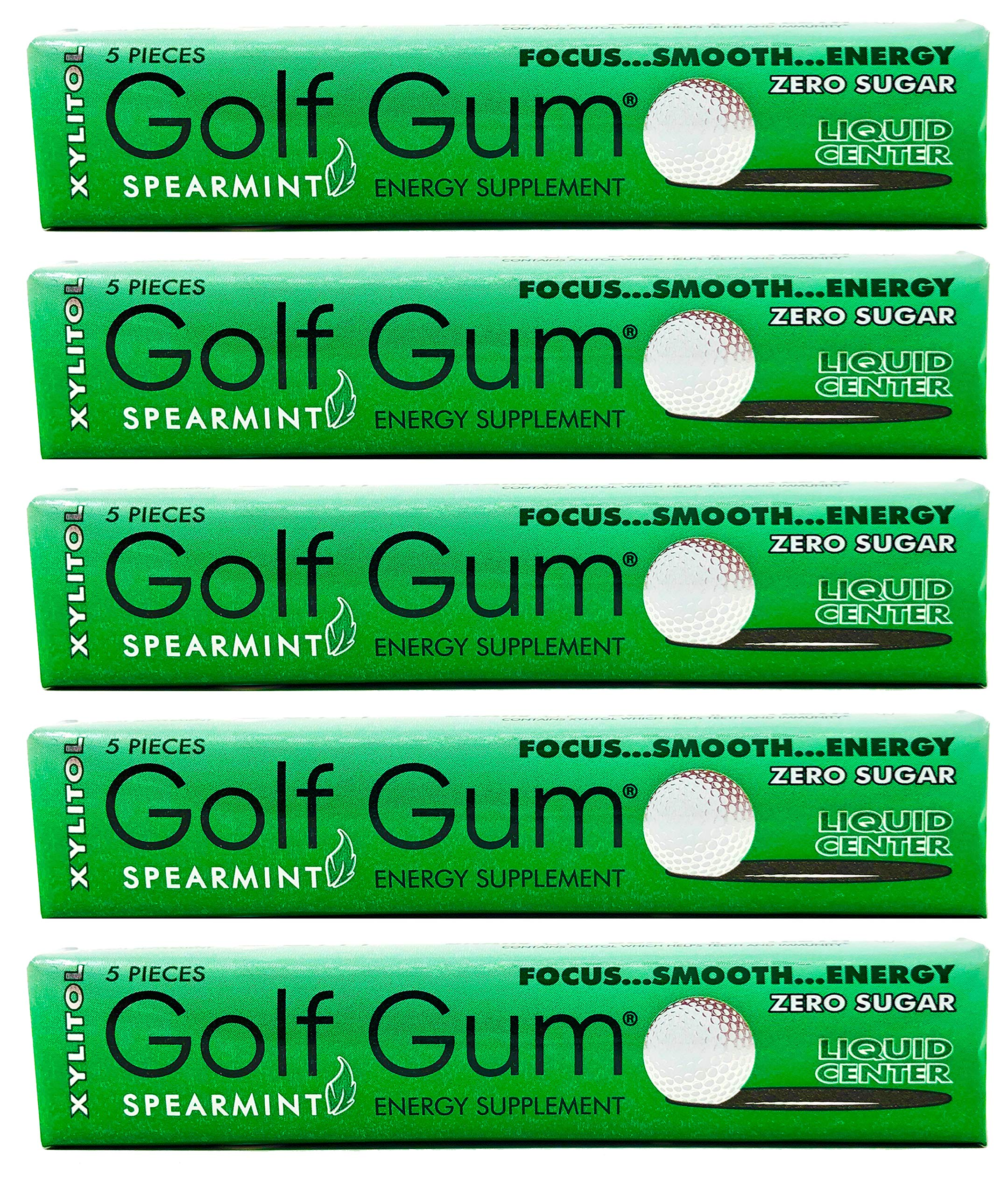 Golf Gum - The Golfers Gum - Liquid Core Xylitol Gum - Sugar-Free, Aspartame-Free, Caffeinated Gum - Spearmint - 5 Pieces of Gum Per Pack (5 Pack) by Golf Gum