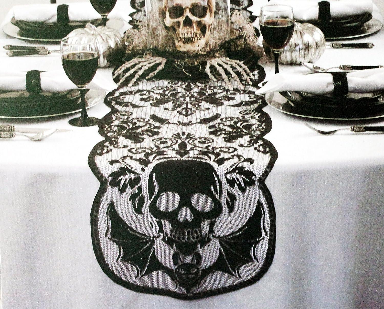 Maker 's Halloweenブラックレーステーブルランナー  Skull Lace B0755XZ7HL