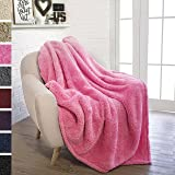 PAVILIA Plush Sherpa Throw Blanket for Couch, Sofa   Fluffy Solid Pink Fleece Throw   Soft, Warm, Fuzzy, Cozy, Lightweight Microfiber   50'' x 60''