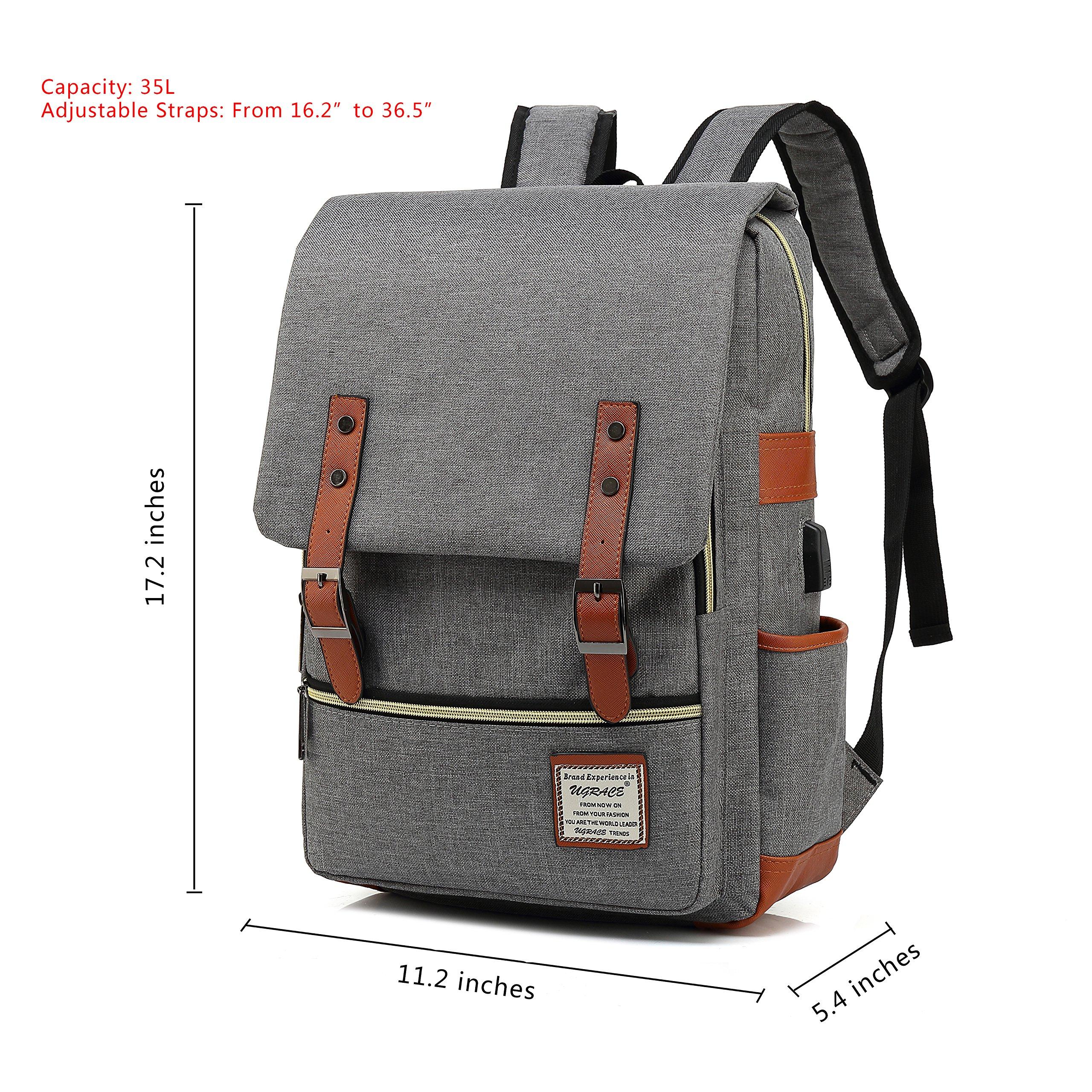 335e2bef32 Kaukko Bags - UGRACE Vintage Laptop Backpack with USB Charging Port ...