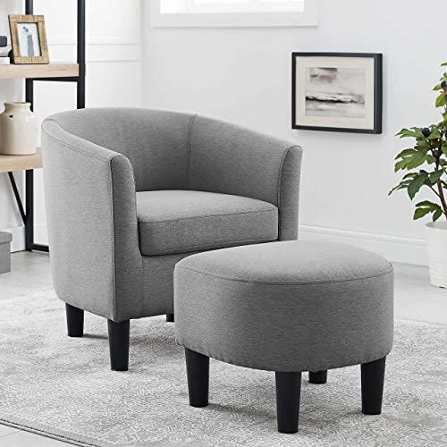 Dazone Modern Accent Chair Upholstered Comfy Arm Chair Linen Fabric Single Sofa Chair