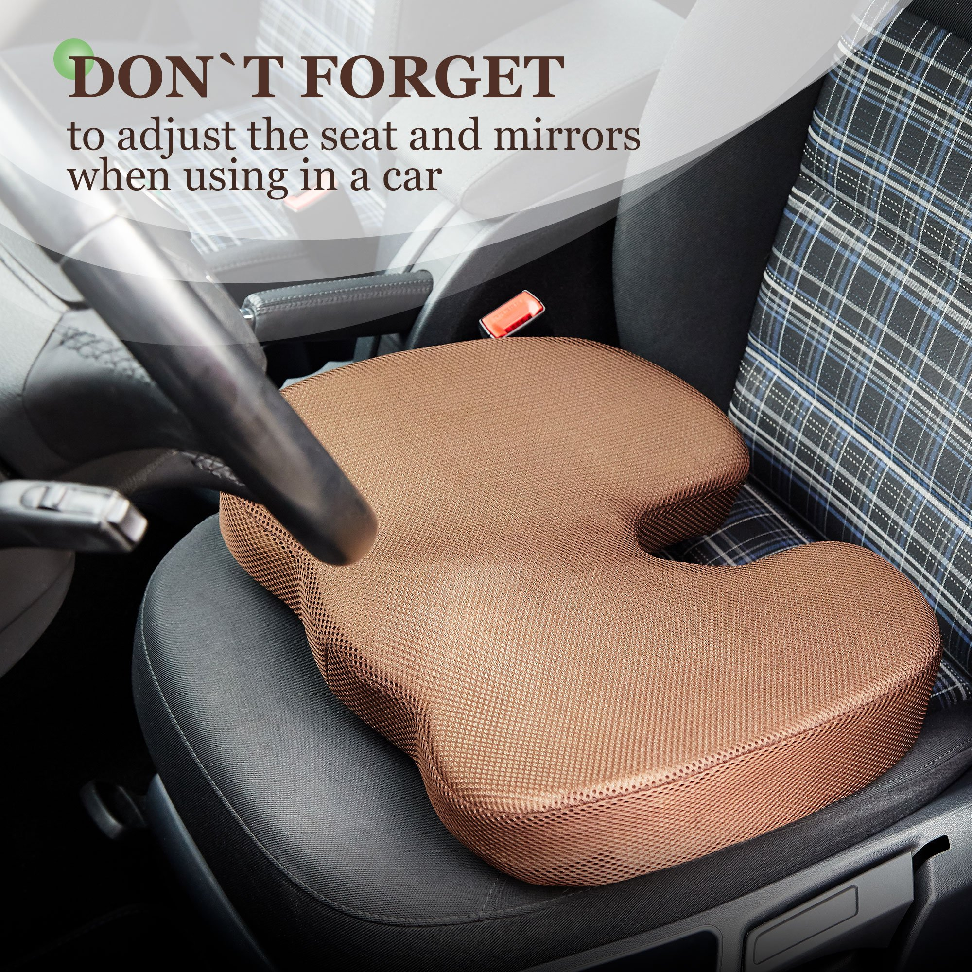Womby Orthopedic Memory Foam Seat Cushion (U-Type) by Orthopedic Coccyx Pillow for Office Chair, Car, Plane – Best Design to Relieve Back, Sciatica and Tailbone Pain – Non-Slip, Washable Cover by Womby (Image #5)
