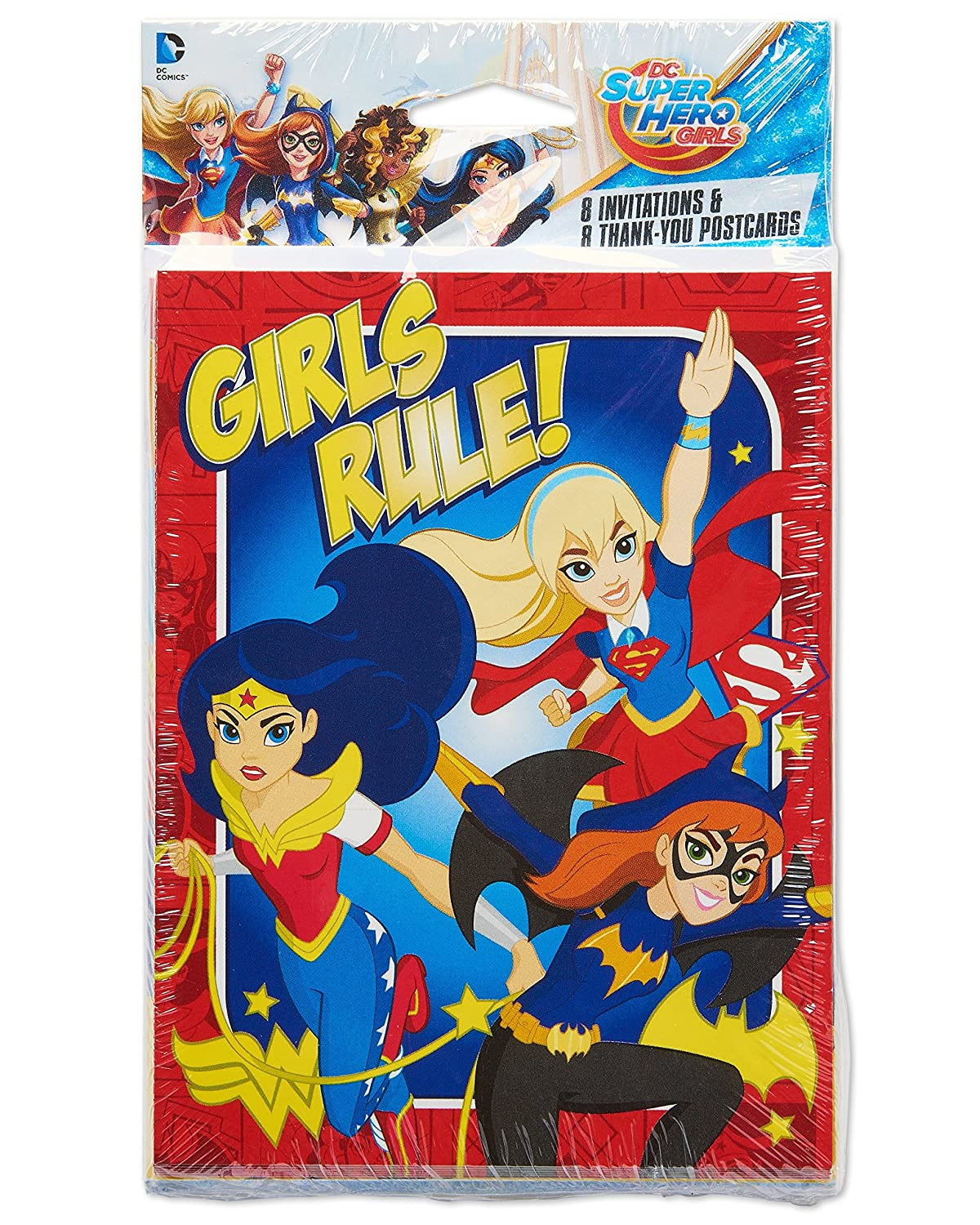 American Greetings DC Super Hero Girls Party Invites and Thank You Cards Sets of 8