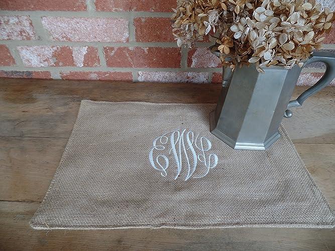 amazon com burlap monogrammed placemats 16 x 12 table rh amazon com personalised tablecloths uk personalised tablecloths uk