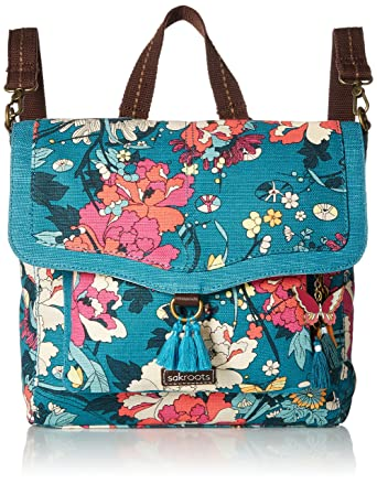 b3ce10b14 Amazon.com: Sakroots Colette Convertible Backpack, Teal Flower Power ...