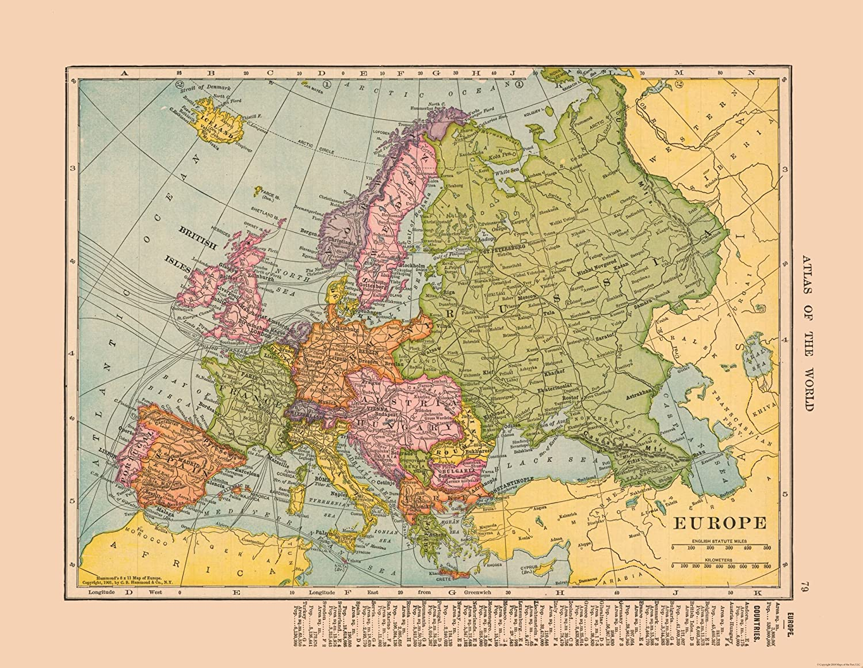 Map Of Europe 1910 Amazon.com: MAPS OF THE PAST Europe   Hammond 1910 23.00 x 29.73