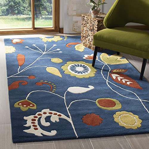 Safavieh Soho Collection SOH772B Handmade Dark Blue and Multi Premium Wool Square Area Rug 6' Square