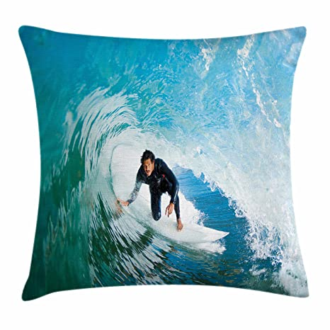 Ride The Wave Duvet Cover Set Surfer Inside Ocean Wave Adventure Adrenalin Energy Sea Sports Picture 4 Piece Bedding Set Home & Garden