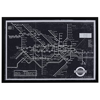 Rivet Black And White Blueprint Of London Underground, Black Frame,  45u0026quot; ...