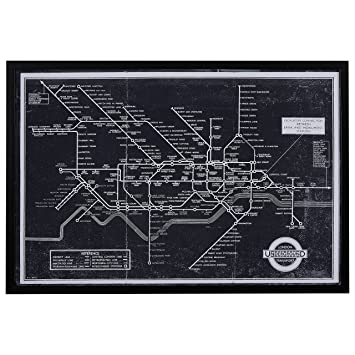 Amazon black and white blueprint of london underground black black and white blueprint of london underground black frame 47quot malvernweather Choice Image