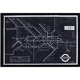 "Amazon Brand – Rivet Black and White Blueprint of London Underground, Black Frame, 45"" x 30"""
