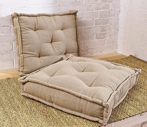 amazon com wool filled tufted square chair cushion floor cushion