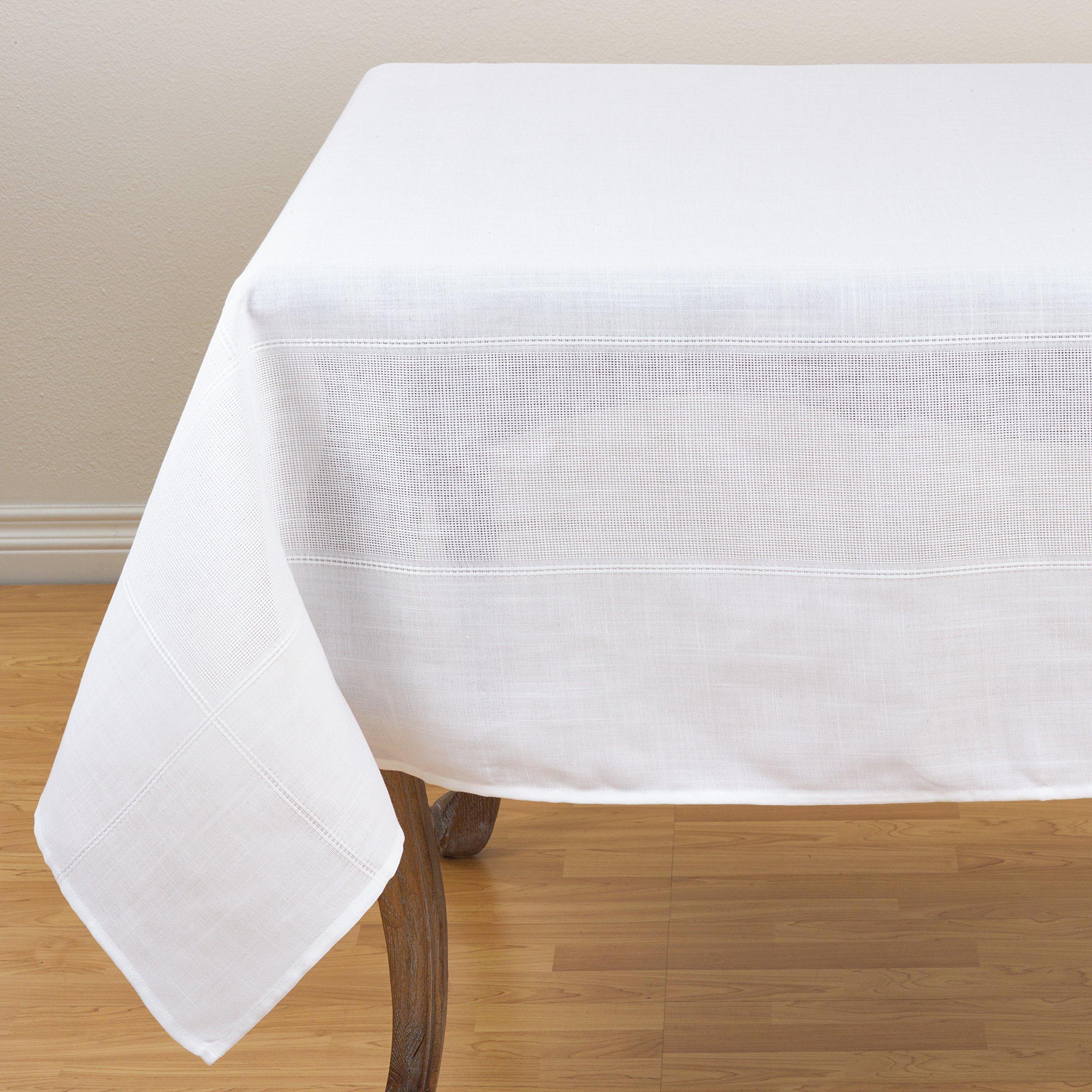 SARO LIFESTYLE Julieta Collection Drawn Thread Work Tablecloth, 72'', White by SARO LIFESTYLE (Image #1)
