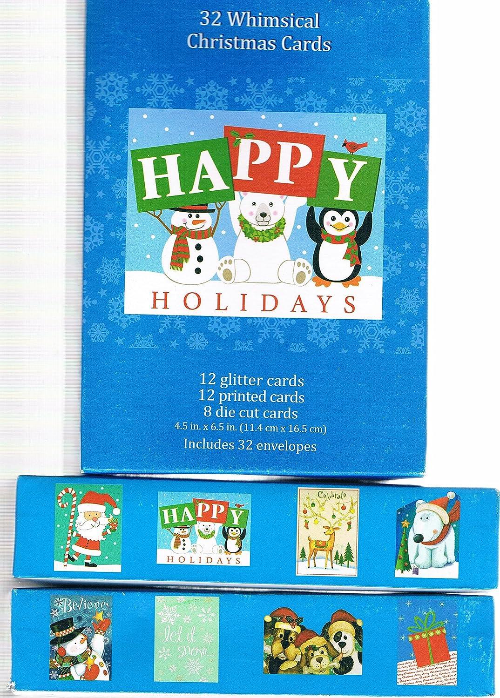 Amazon.com : 64 Christmas Cards & Envelopes Whimsical Design ...