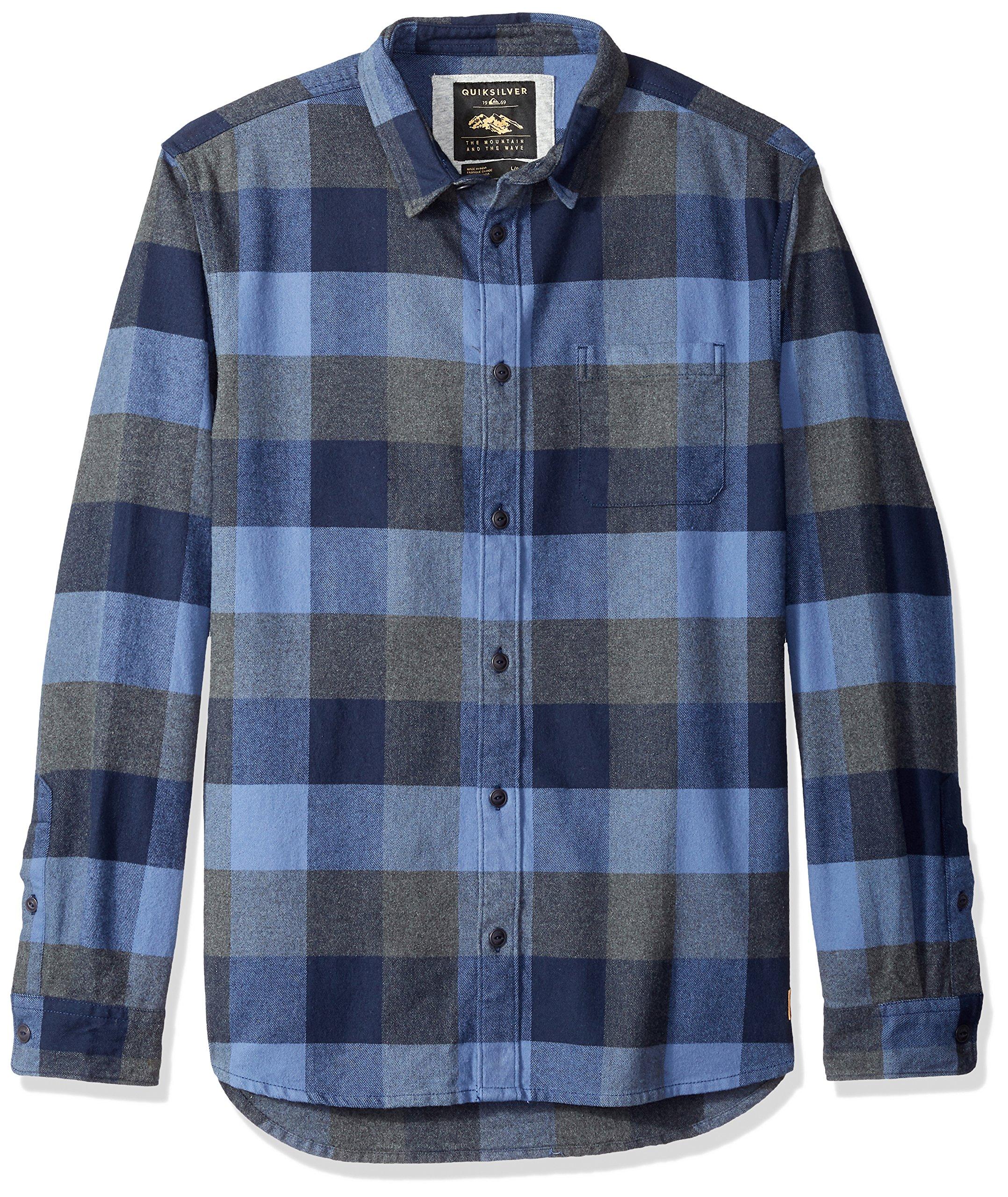 Quiksilver Men's Stretch Button Down Flannel Shirt, Stretch Flannel Navy Blazer, XXL