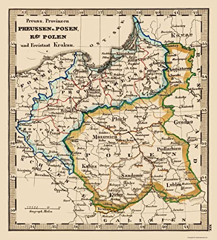 Amazon.com: Old Eastern Europe Map - Poland and Prussia - Stieler ...